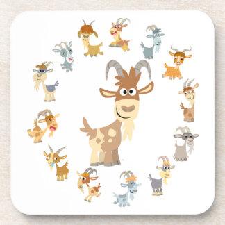 Cute Cartoon Goat Mandala Coasters Set