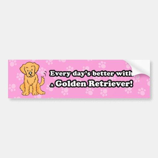 Cute Cartoon Golden Retriever Bumper Sticker