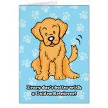 Cute Cartoon Golden Retriever Greeting Card