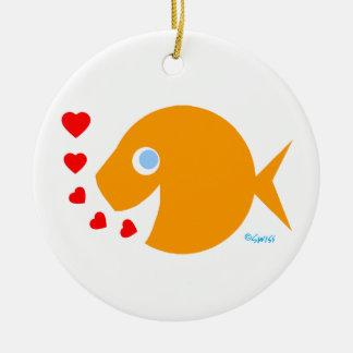 Cute Cartoon Goldfish Kisses with Love Message Ceramic Ornament