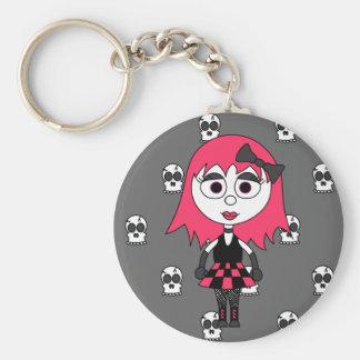 Cute Cartoon Goth Girl And Skulls Keychain