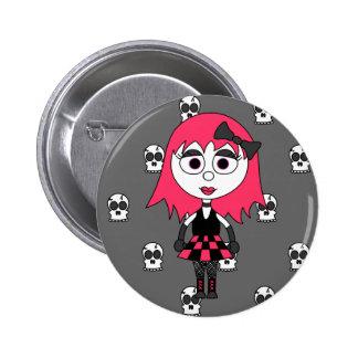 Cute Cartoon Goth Girl And Skulls Pin