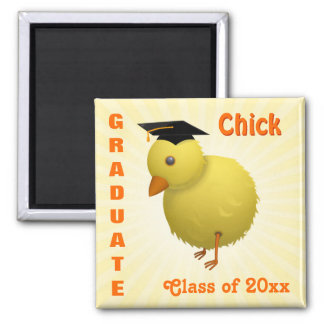 Cute Cartoon Graduate Chick with Mortar Board Hat Refrigerator Magnets