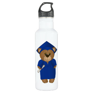 Cute Cartoon Graduate Teddy Bear in Blue Water Bottle