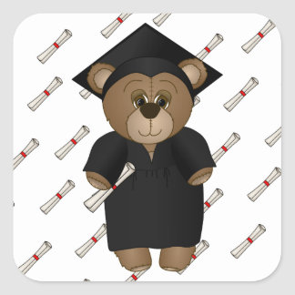 Cute Cartoon Graduate Teddy Bear Square Sticker