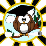 Cute Cartoon Graduating Owl w/Black & Gold Colors Cutout