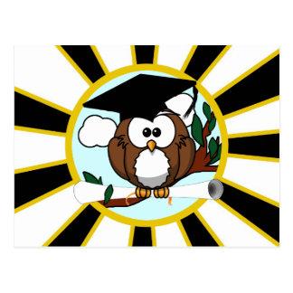 Cute Cartoon Graduating Owl w/Black & Gold Colors Postcard