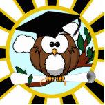 Cute Cartoon Graduating Owl w/Black & Gold Colors Standing Photo Sculpture