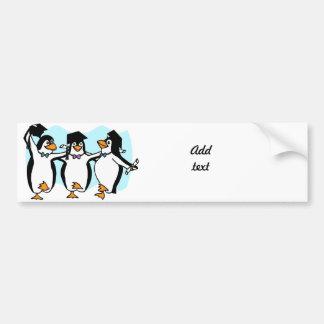 Cute Cartoon Graduating Penguins Bumper Sticker