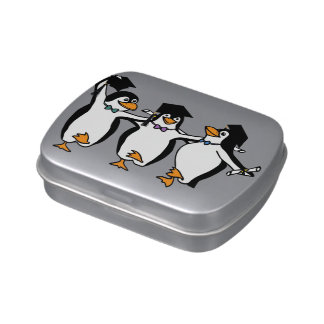 Cute Cartoon Graduating Penguins Jelly Belly Candy Tins