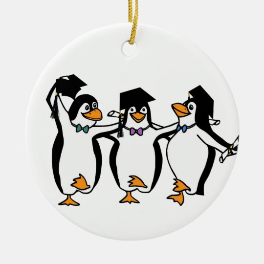 Cute Cartoon Graduating Penguins Ceramic Ornament