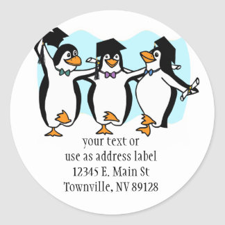 Cute Cartoon Graduating Penguins Classic Round Sticker
