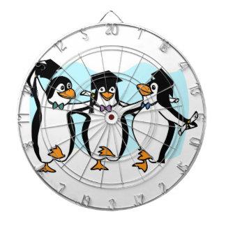 Cute Cartoon Graduating Penguins Dartboard With Darts