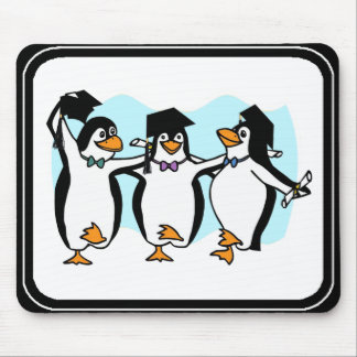 Cute Cartoon Graduating Penguins Mouse Pad