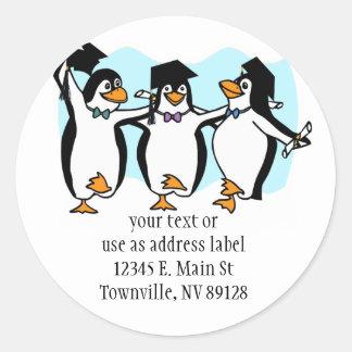 Cute Cartoon Graduating Penguins Classic Round Sticker