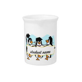 Cute Cartoon Graduating Penguins w/Banner Beverage Pitcher