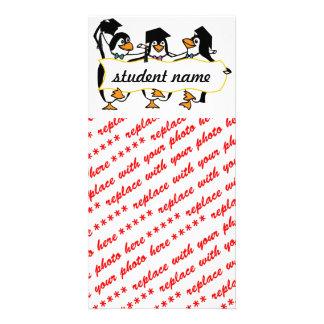 Cute Cartoon Graduating Penguins w/Banner Card