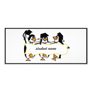 Cute Cartoon Graduating Penguins w/Banner Personalized Rack Card