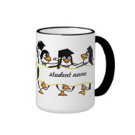 Cute Cartoon Graduating Penguins w/Banner Ringer Coffee Mug