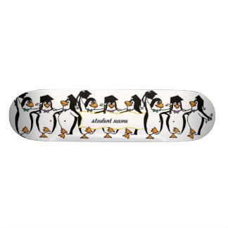 Cute Cartoon Graduating Penguins w/Banner Skateboard Deck