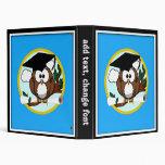 Cute Cartoon Graduation Owl With Cap & Diploma Binders