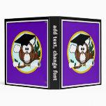 Cute Cartoon Graduation Owl With Cap & Diploma 3 Ring Binders