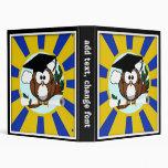 Cute Cartoon Graduation Owl With Cap & Diploma 3 Ring Binder