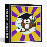 Cute Cartoon Graduation Owl With Cap & Diploma Vinyl Binders