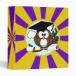 Cute Cartoon Graduation Owl With Cap & Diploma Vinyl Binder