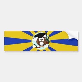 Cute Cartoon Graduation Owl With Cap & Diploma Bumper Stickers