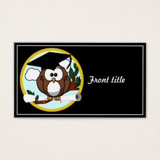 Cute Cartoon Graduation Owl With Cap & Diploma Business Card
