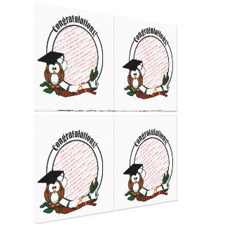 Cute Cartoon Graduation Owl With Cap & Diploma Canvas Print
