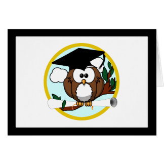 Cute Cartoon Graduation Owl With Cap & Diploma Greeting Card