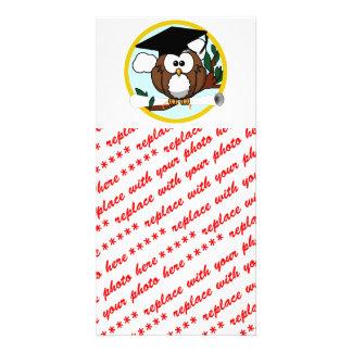 Cute Cartoon Graduation Owl With Cap & Diploma Card