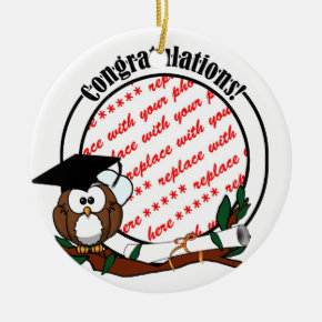 Cute Cartoon Graduation Owl With Cap & Diploma Ceramic Ornament
