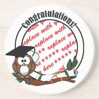 Cute Cartoon Graduation Owl With Cap & Diploma Drink Coaster