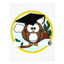 Cute Cartoon Graduation Owl With Cap & Diploma Flyer