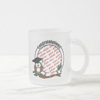 Cute Cartoon Graduation Owl With Cap & Diploma Frosted Glass Coffee Mug