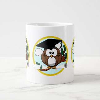 Cute Cartoon Graduation Owl With Cap & Diploma Giant Coffee Mug