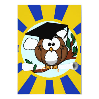 Cute Cartoon Graduation Owl With Cap & Diploma Custom Announcements