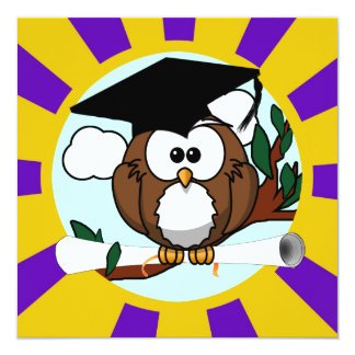 Cute Cartoon Graduation Owl With Cap & Diploma Invite