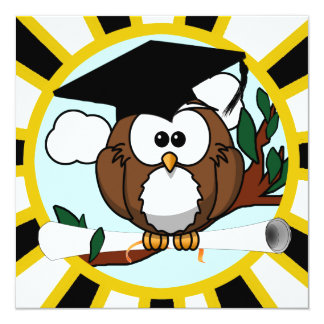 Cute Cartoon Graduation Owl With Cap & Diploma Personalized Announcement