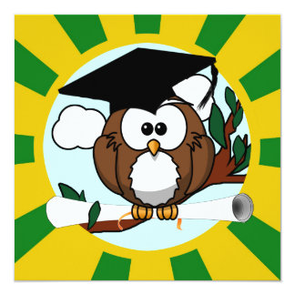 Cute Cartoon Graduation Owl With Cap & Diploma Announcement