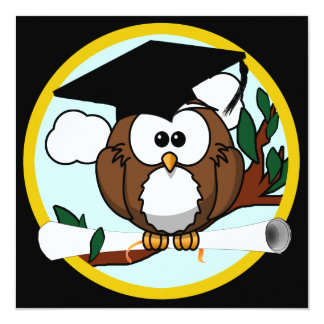 Cute Cartoon Graduation Owl With Cap & Diploma Custom Invitations
