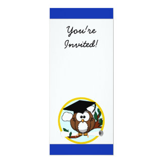 Cute Cartoon Graduation Owl With Cap & Diploma Custom Announcement
