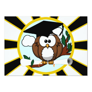 Cute Cartoon Graduation Owl With Cap & Diploma Custom Invite