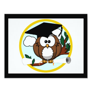 Cute Cartoon Graduation Owl With Cap & Diploma Personalized Invite