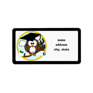 Cute Cartoon Graduation Owl With Cap & Diploma Label