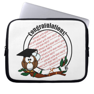 Cute Cartoon Graduation Owl With Cap & Diploma Computer Sleeves