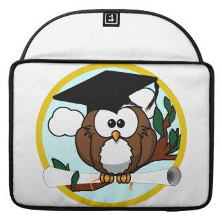 Cute Cartoon Graduation Owl With Cap & Diploma Sleeves For MacBooks
